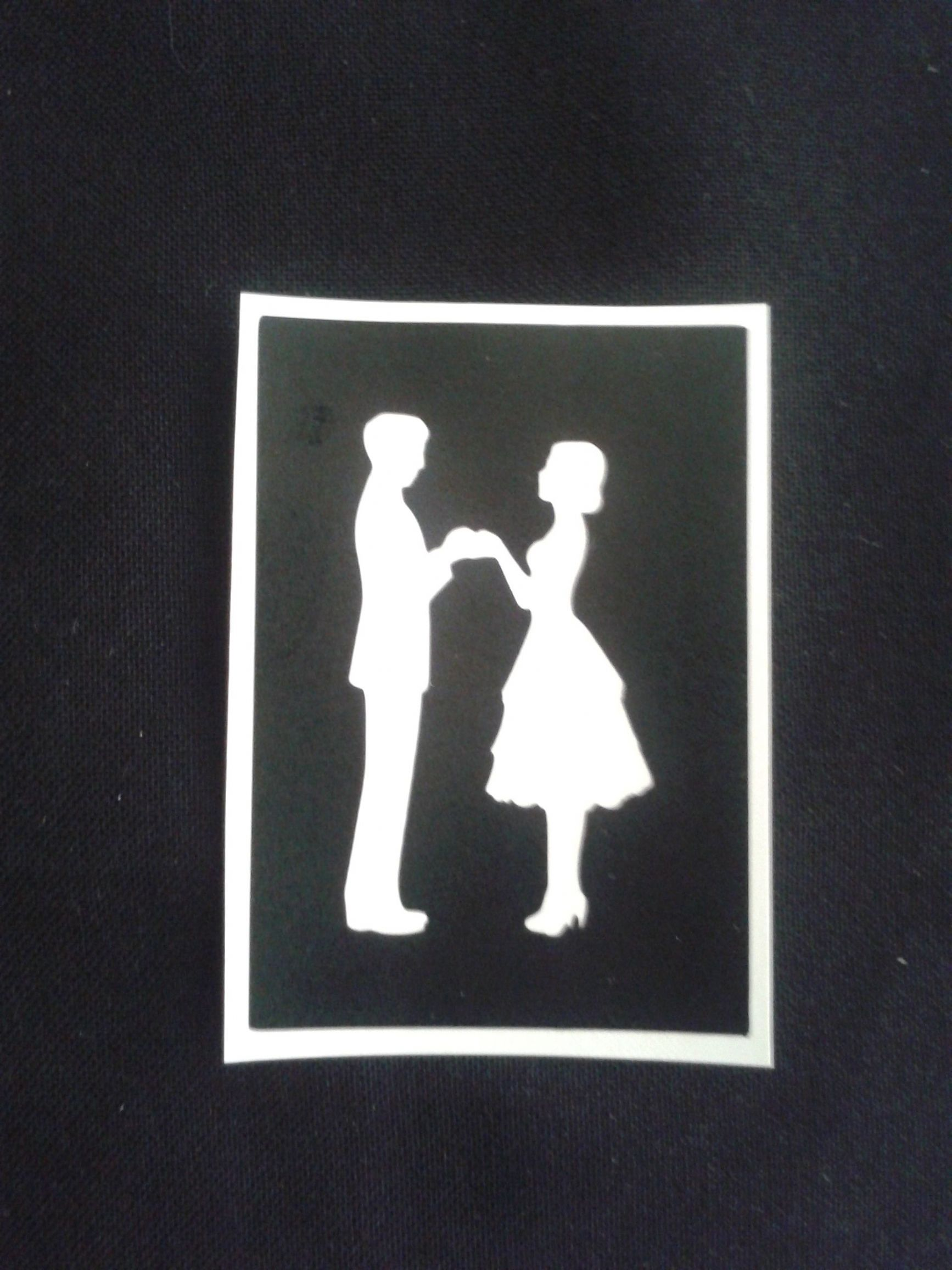 Couple Holding Hands Stencils For Etching On Glass