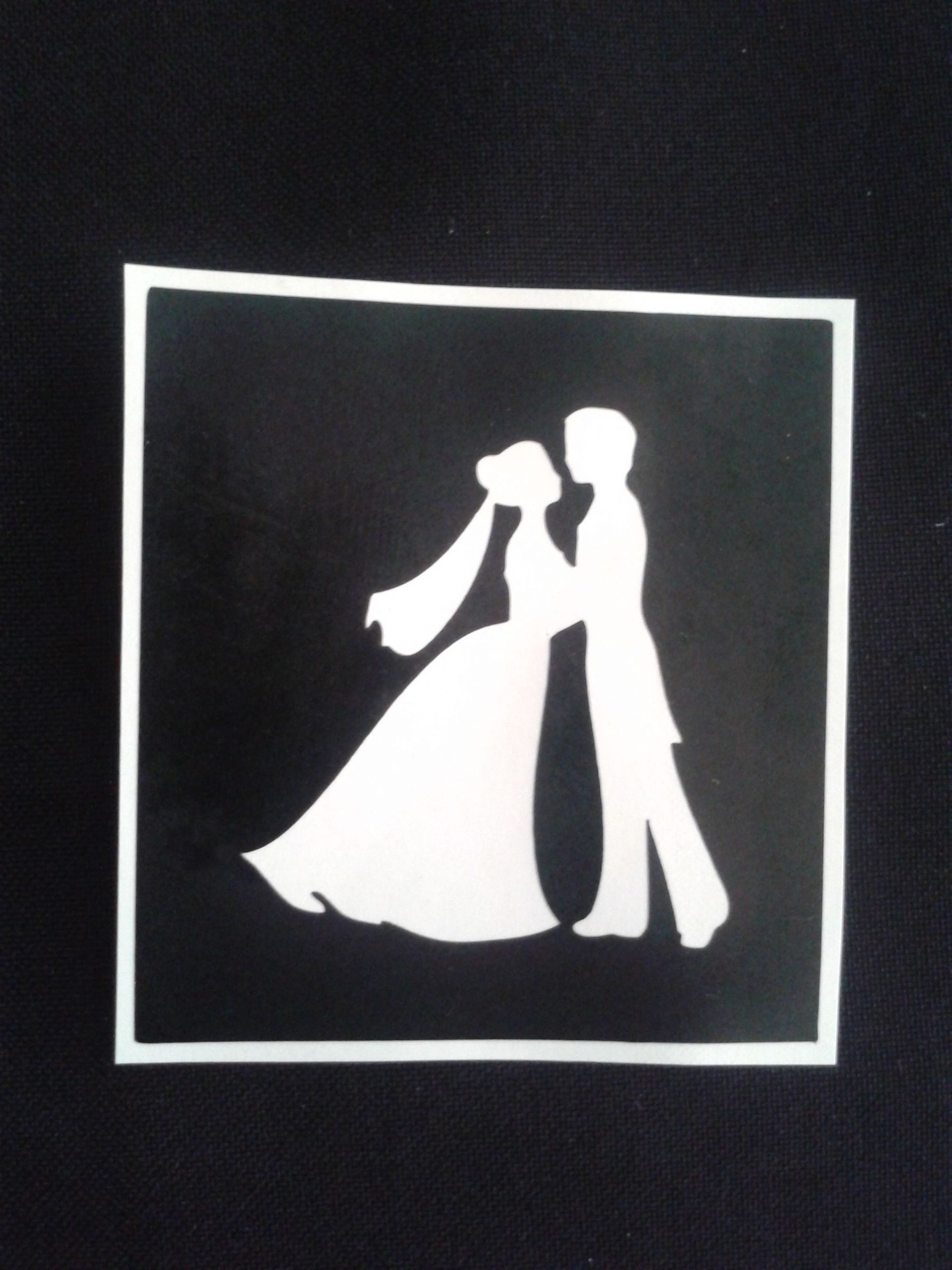 Wedding Couple Holding Hands Stencils For Etching On Glass