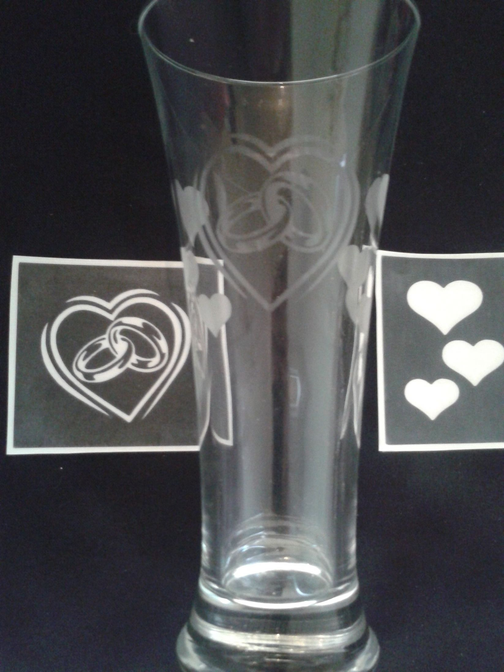 Wedding Ring Amp Hearts Stencils For Etching On Glass