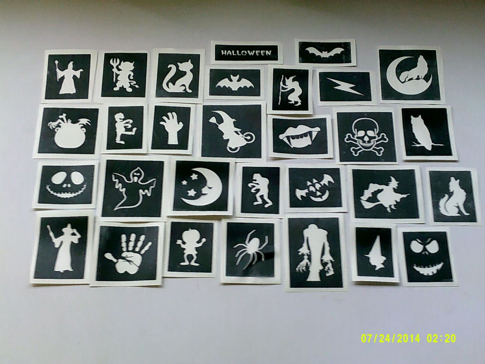 10 100 Halloween Themed Stencils For Glitter Tattoos Airbrush