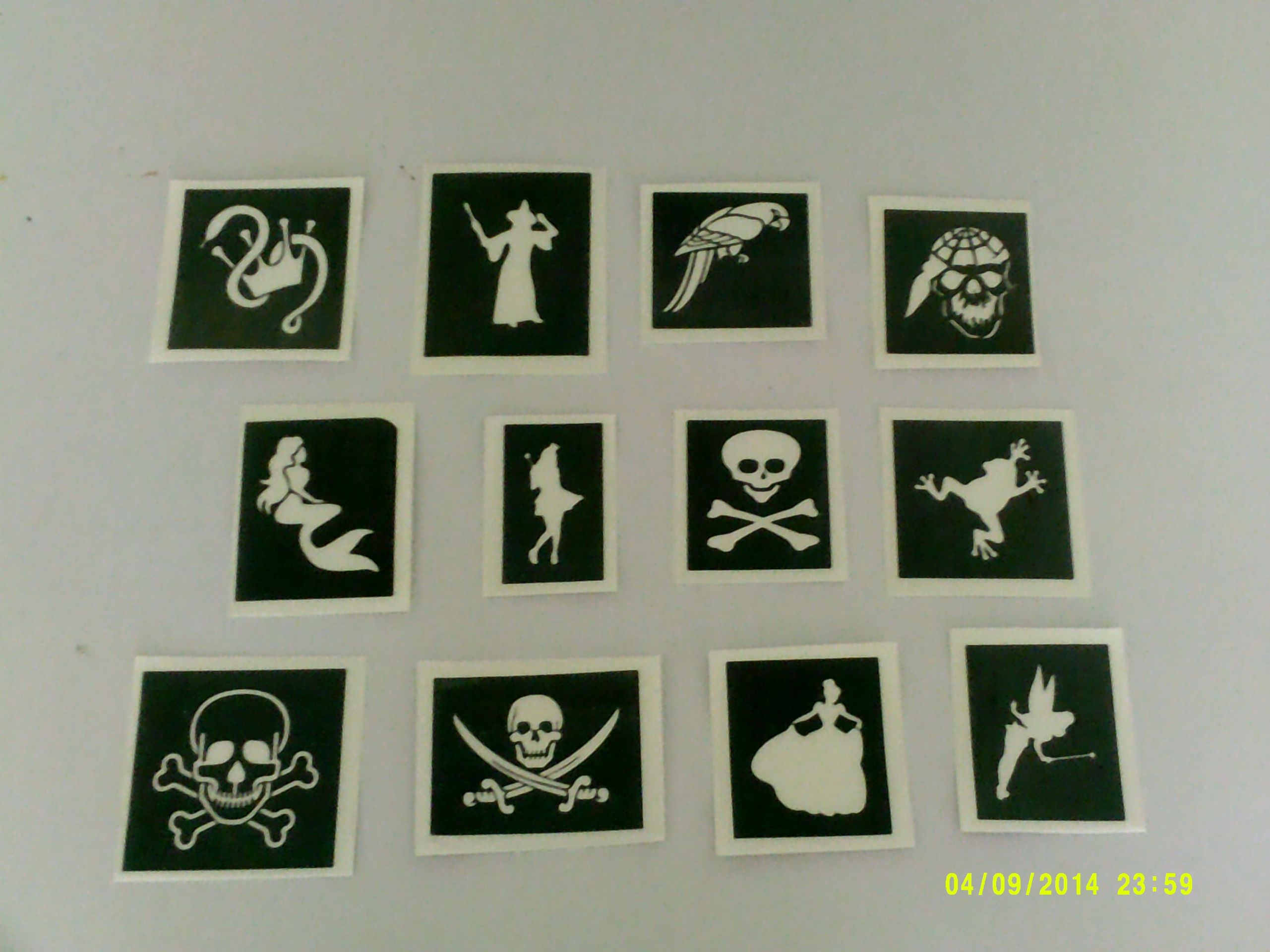 30 X Pirate Princess Themed Stencils Mixed For Glitter Tattoos