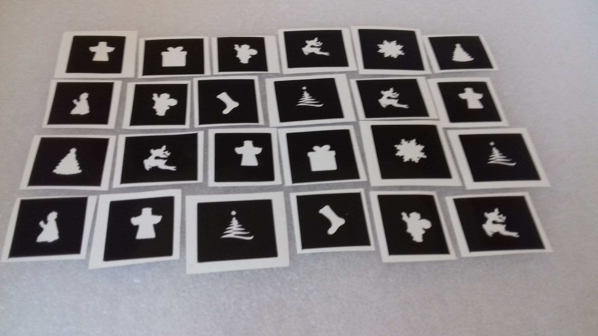 Christmas nail stencils for airbrush Santa tree bell reindeer angel bow  (mixed)