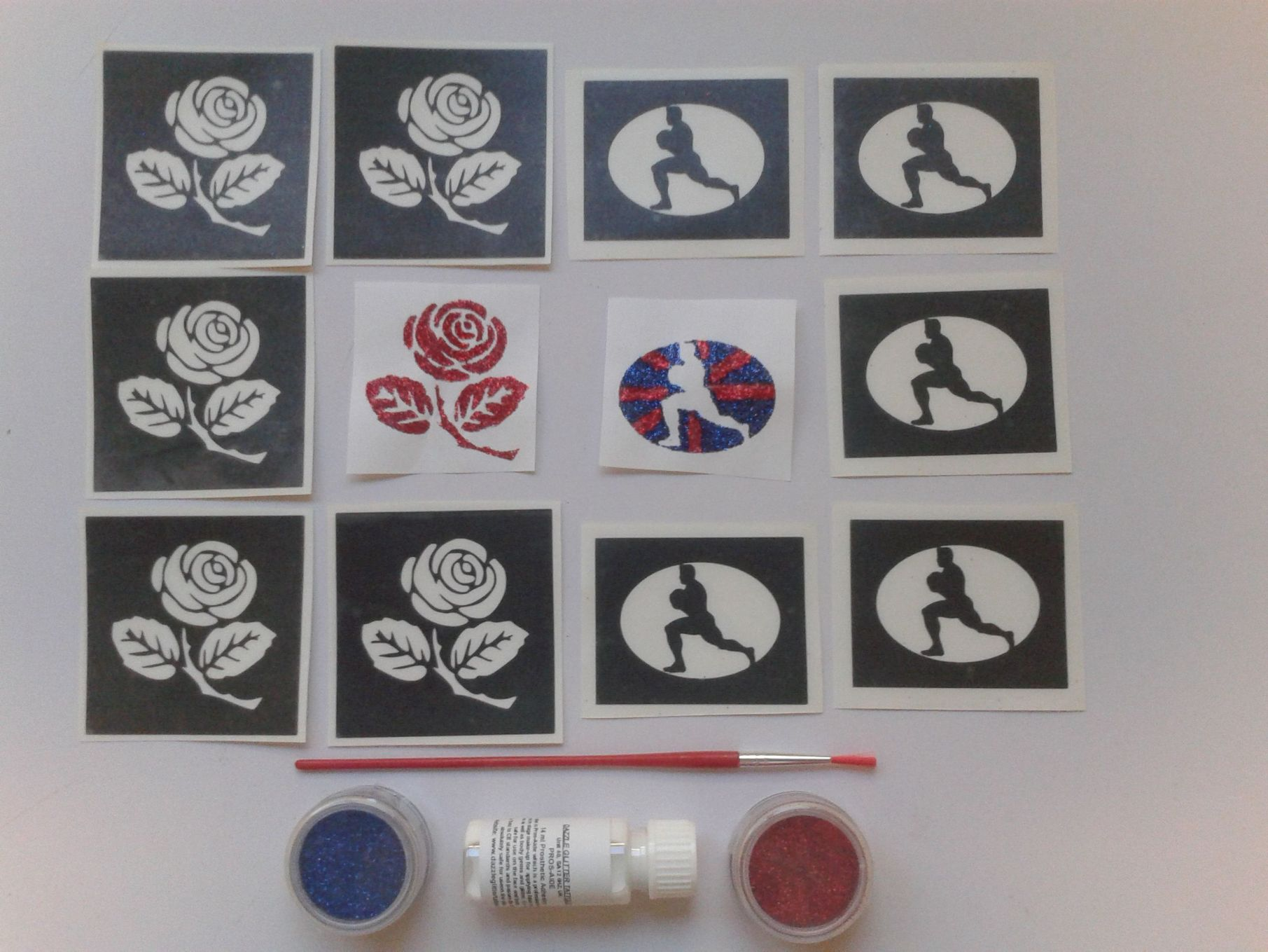English rugby glitter temporary tattoo set incl. 30 stencils 2 ...