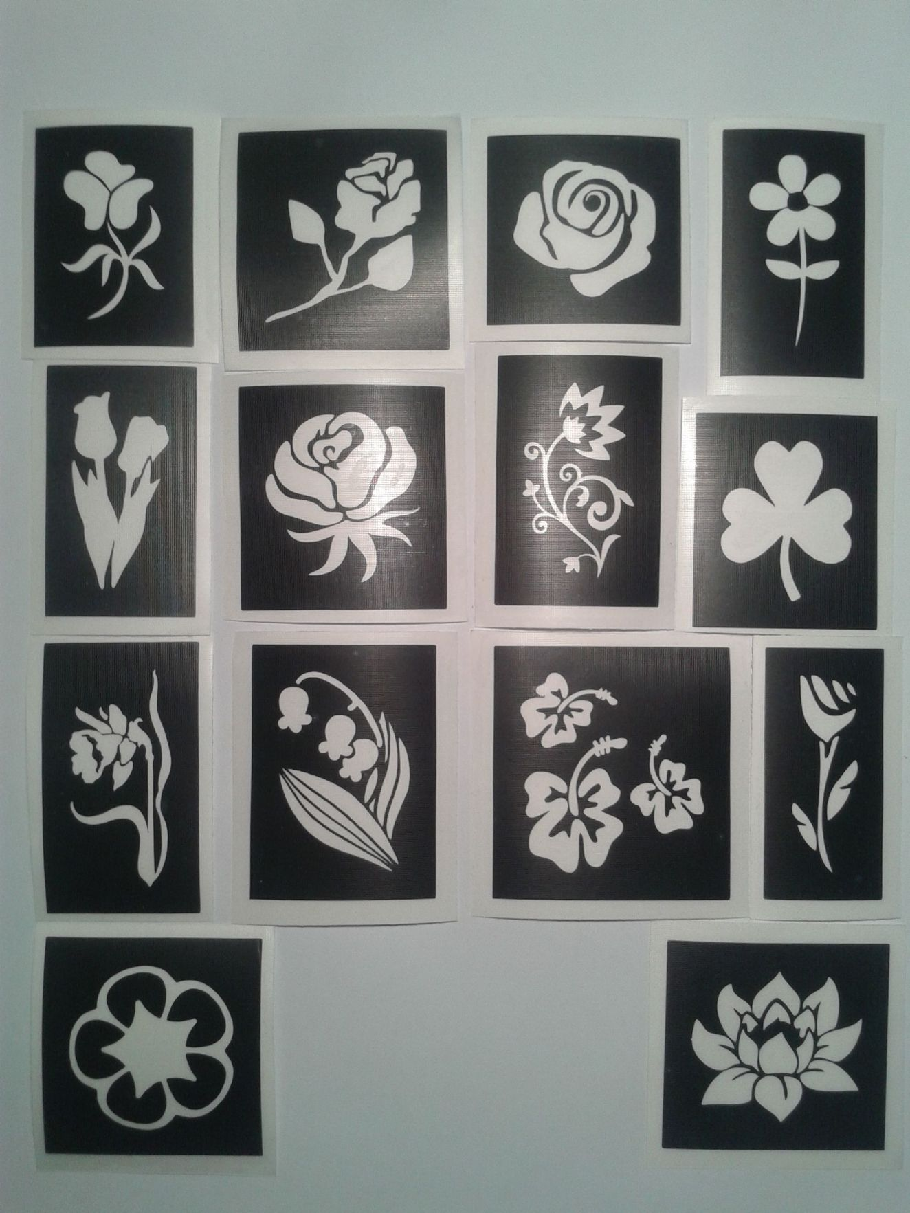 Flower Themed Stencils For Glitter Tattoos Airbrush Henna Cakes Many