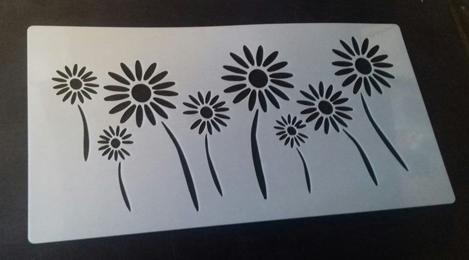 Flowers Wall Decor Stencils Bedroom Living Room Kitchen 10 X 5 Daisy Daisies