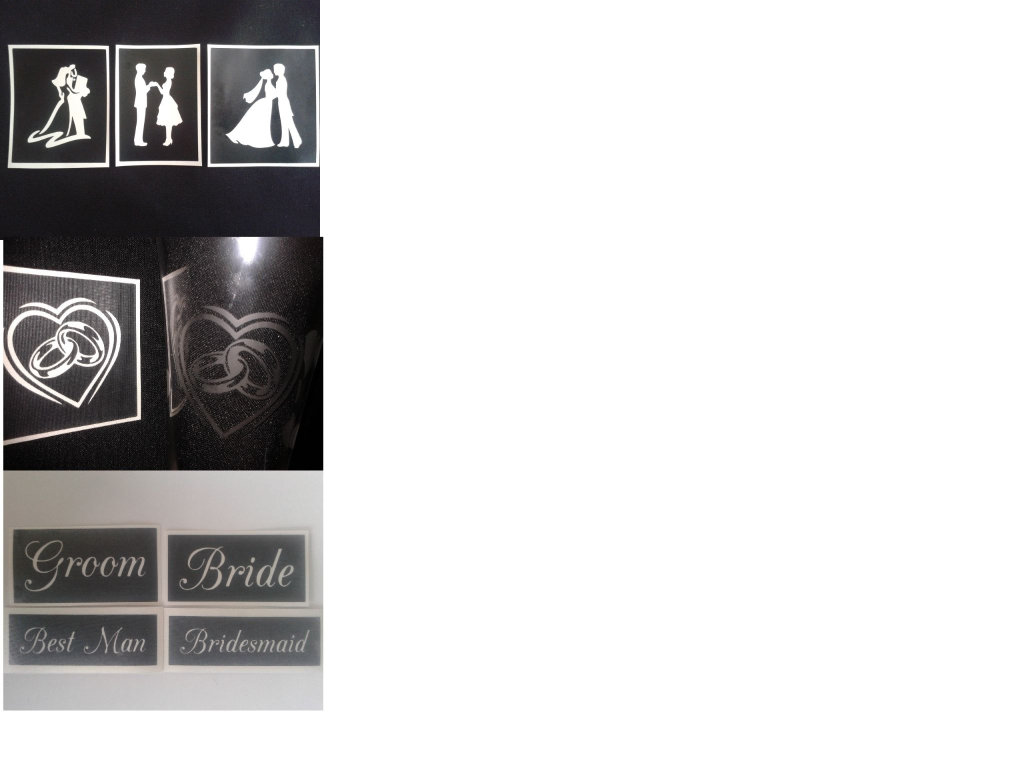 Ideas Wedding Mix Stencils For Etching On Gl S Bride Groom Ring Best Man Bridesmaid Favor Glware